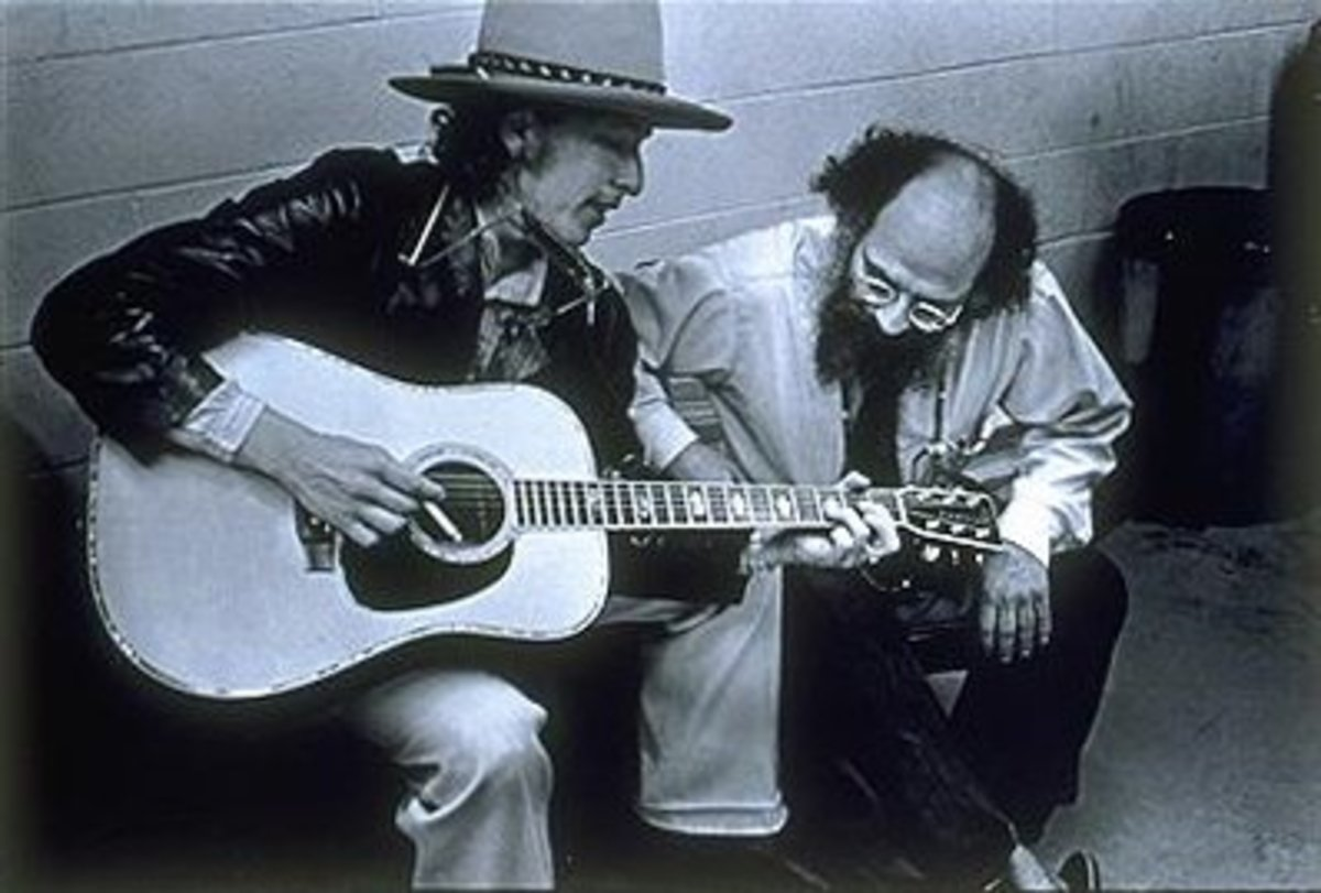 Allen Ginsberg with Bob Dylan.