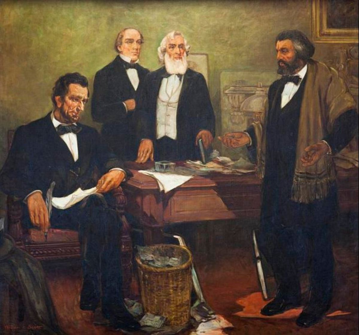 """Frederick Douglass appealing to President Lincoln and his cabinet to enlist Negroes"" mural by William Edouard Scott"