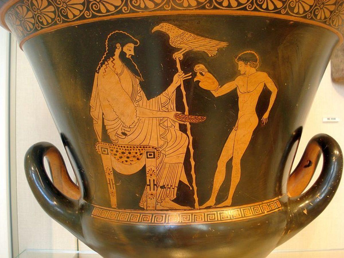 Vase artwork of Zeus and Ganymede