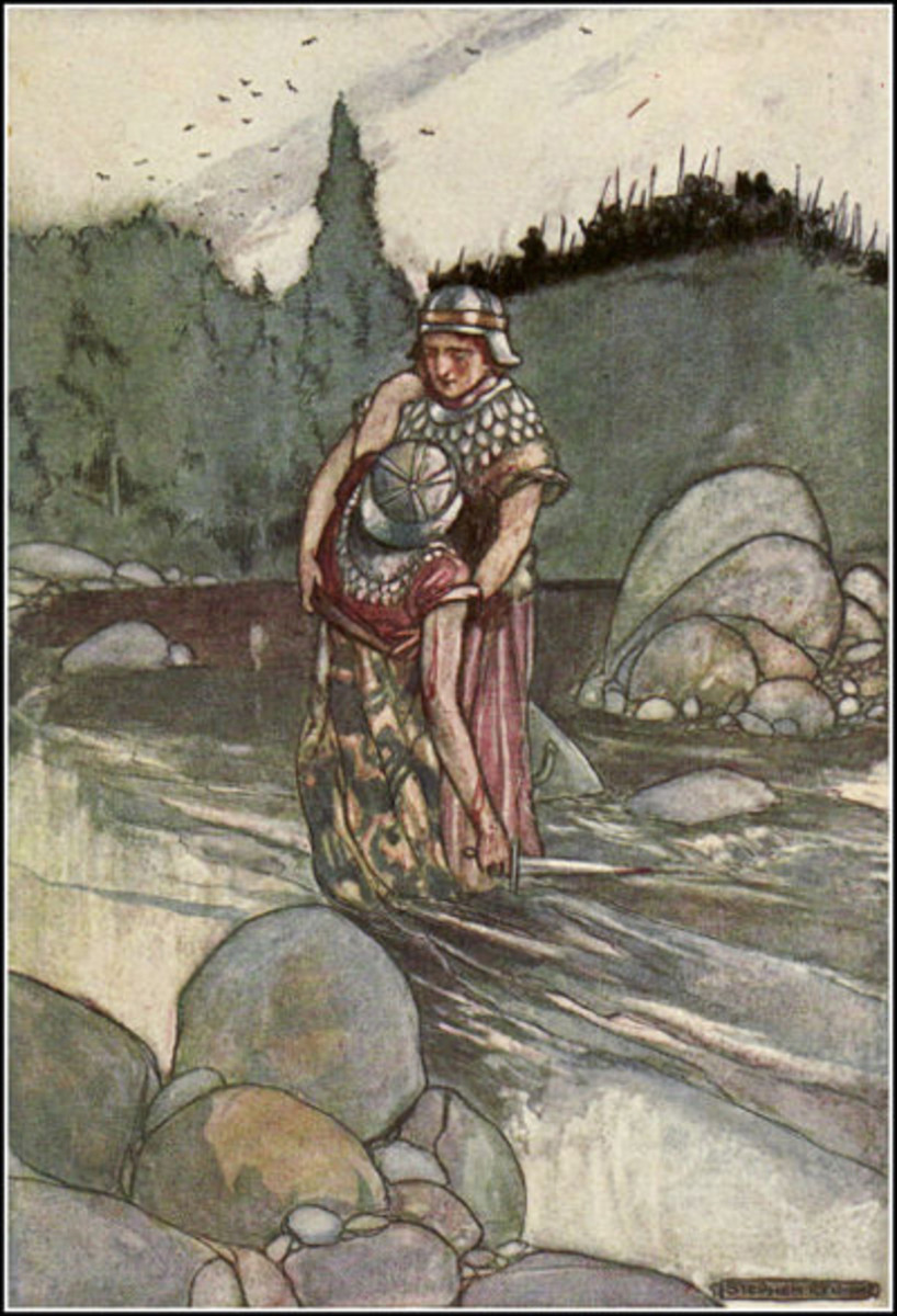 """Ferdia Falls at the Hand of Cuchulain"", Stephen Reid, 1904"