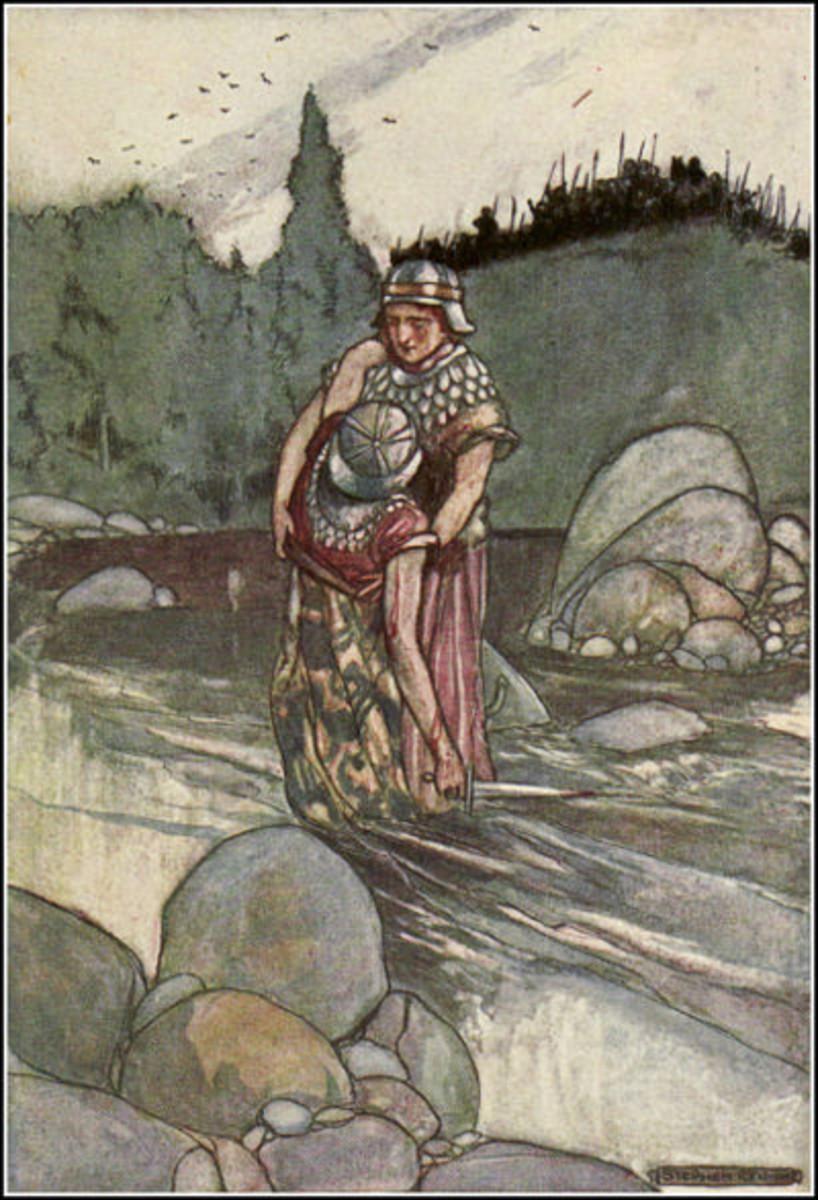"""Ferdia Falls at the Hand of Cuchulain"", Stephen Reid, 1904"