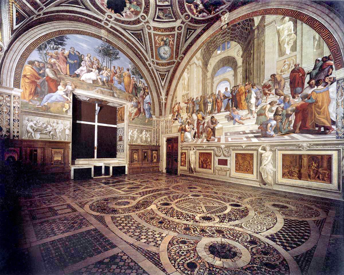 """Stanza della Segnatura"", 1511, one of the ""Raphael rooms"" he painted in the Papal apartments and Sistine Chapel.  To the right is his famed ""School of Athens"" the most famous and renowned fresco painted by Raphael."