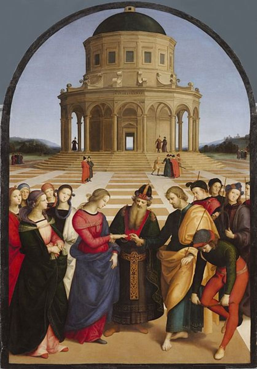 """Wedding of the Virgin"", one of Raphael's early completed altarpiece frescoes."