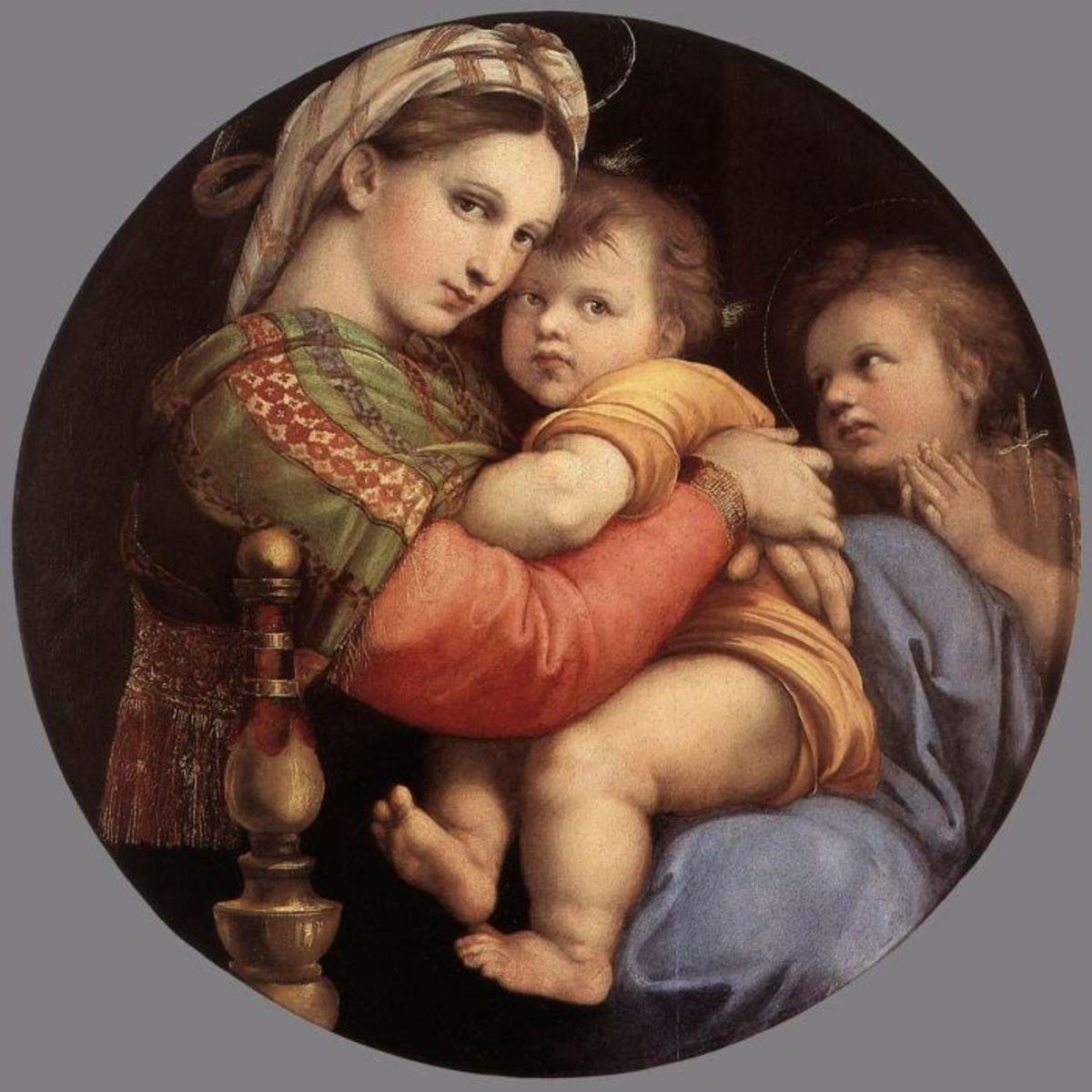 """Madonna della Sedia"" (The Virgin Enthroned) 1516-17.  Part of Raphel's Madonna series."