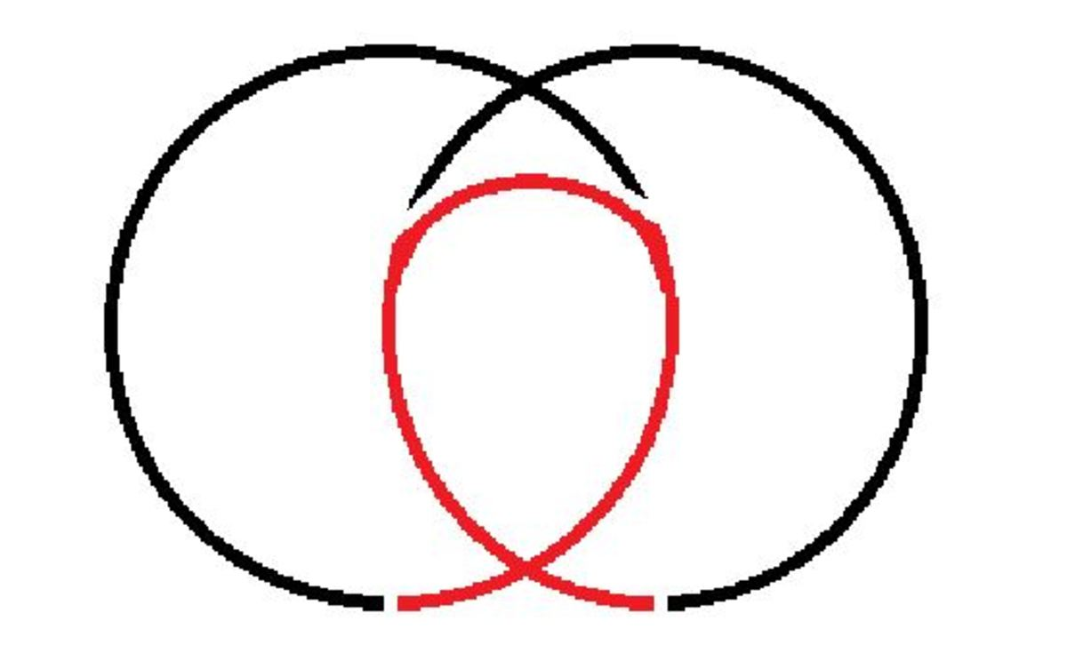 Two circles overlap to form a clothoid, in red.