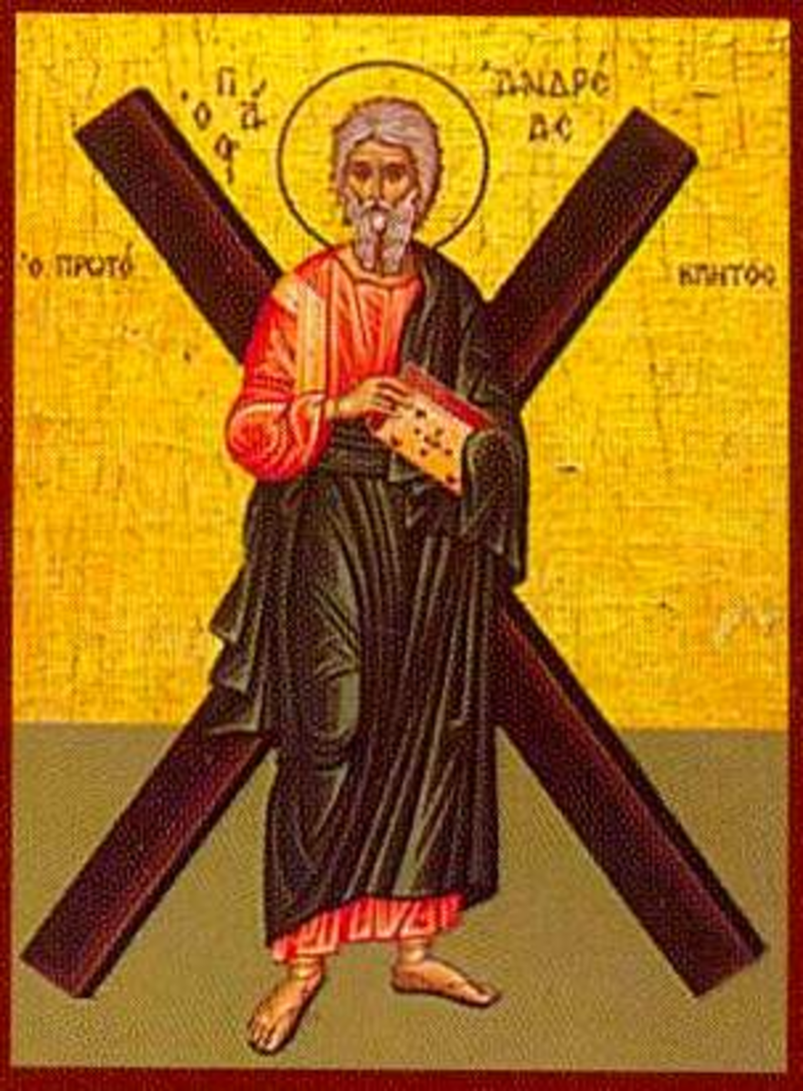 St. Andrew was the first called apostle and is said to have died on an 'X' shaped cross.