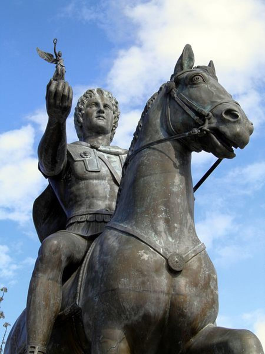 Alexander riding Bucephalus while holding Nike