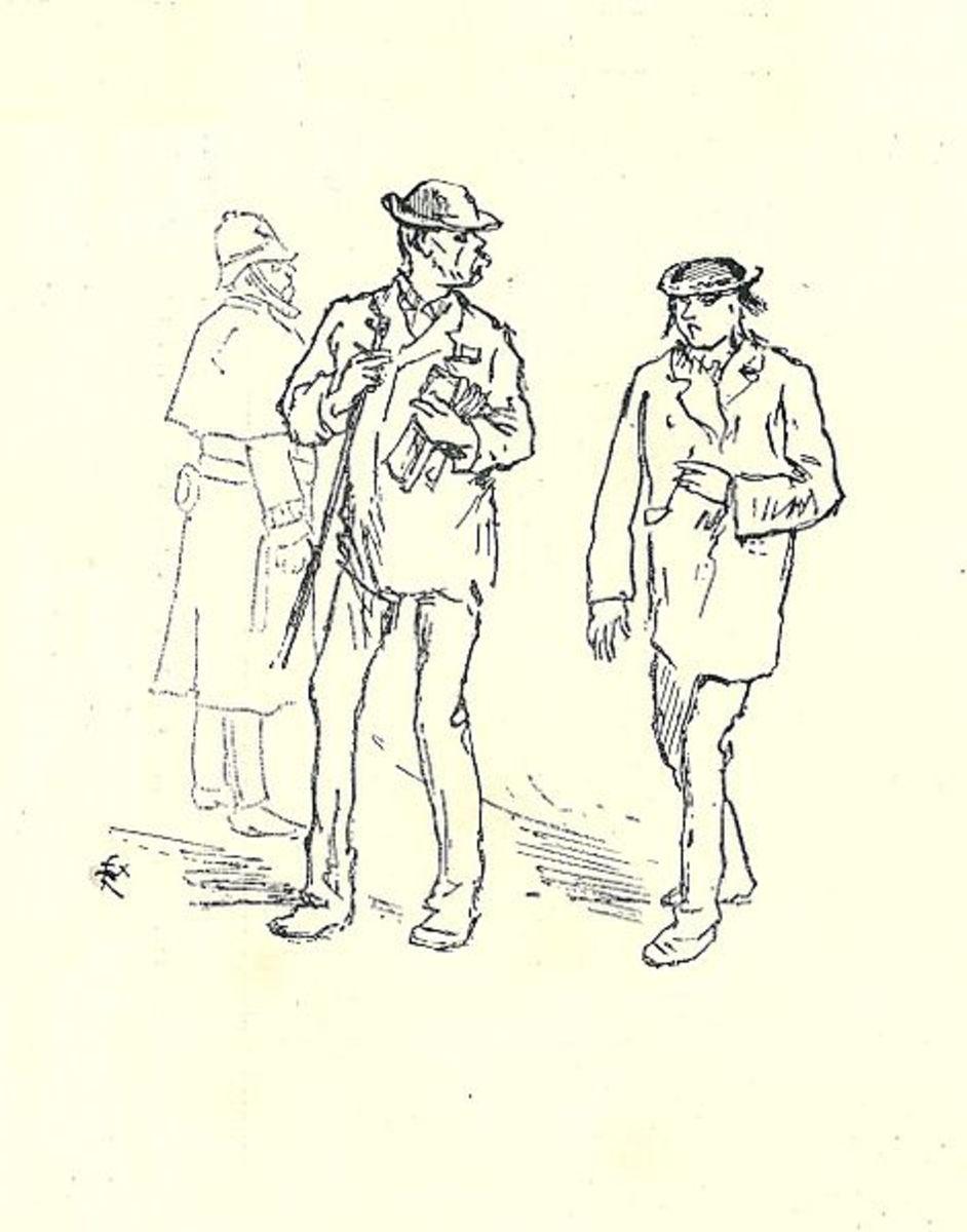 Paul Verlaine and Arthur Rimbaud in London 1872. Drawing by Felix Regamey