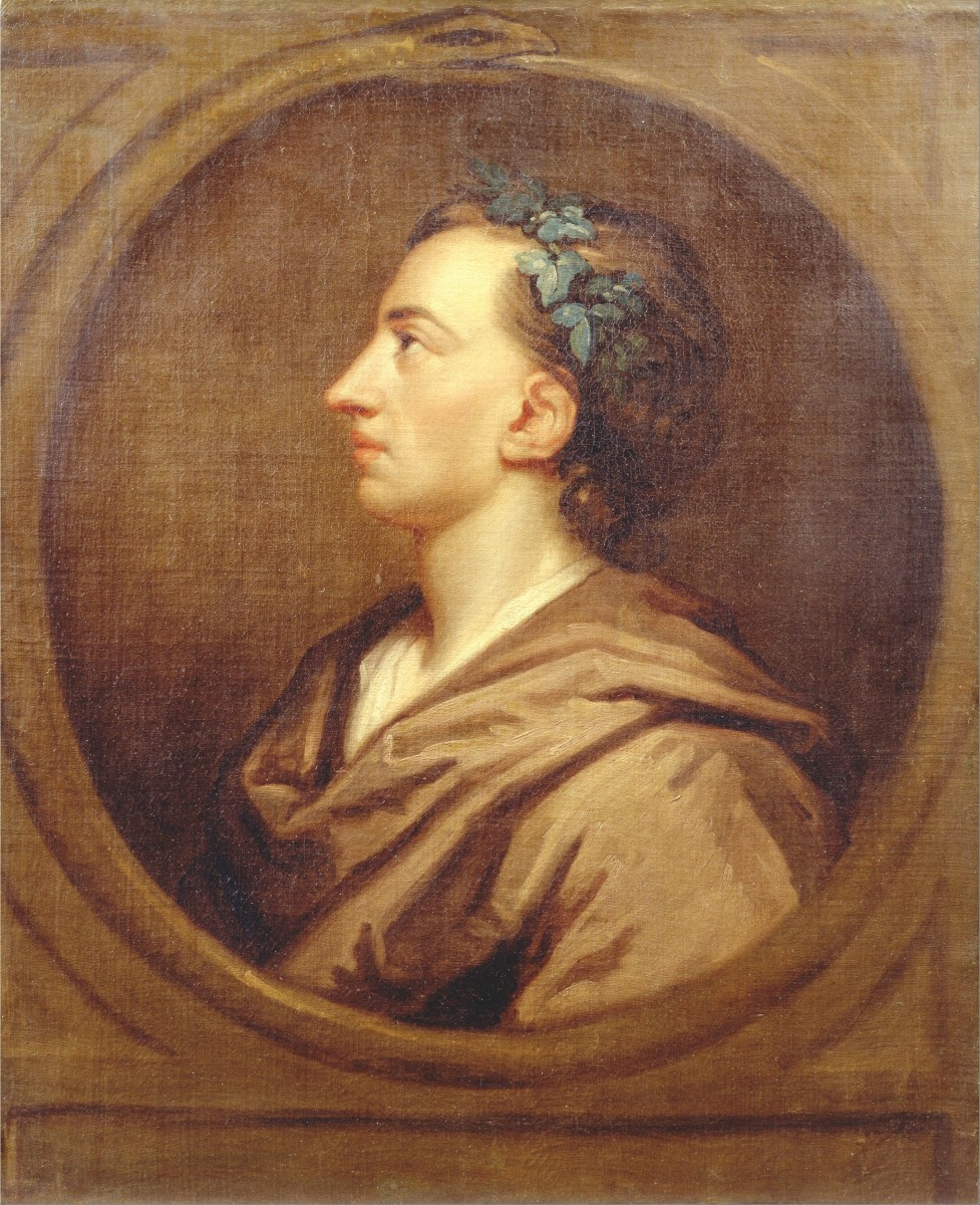 The poet Alexander Pope wearing a crown of ivy; the crown was traditionally associated with a poet of esteem
