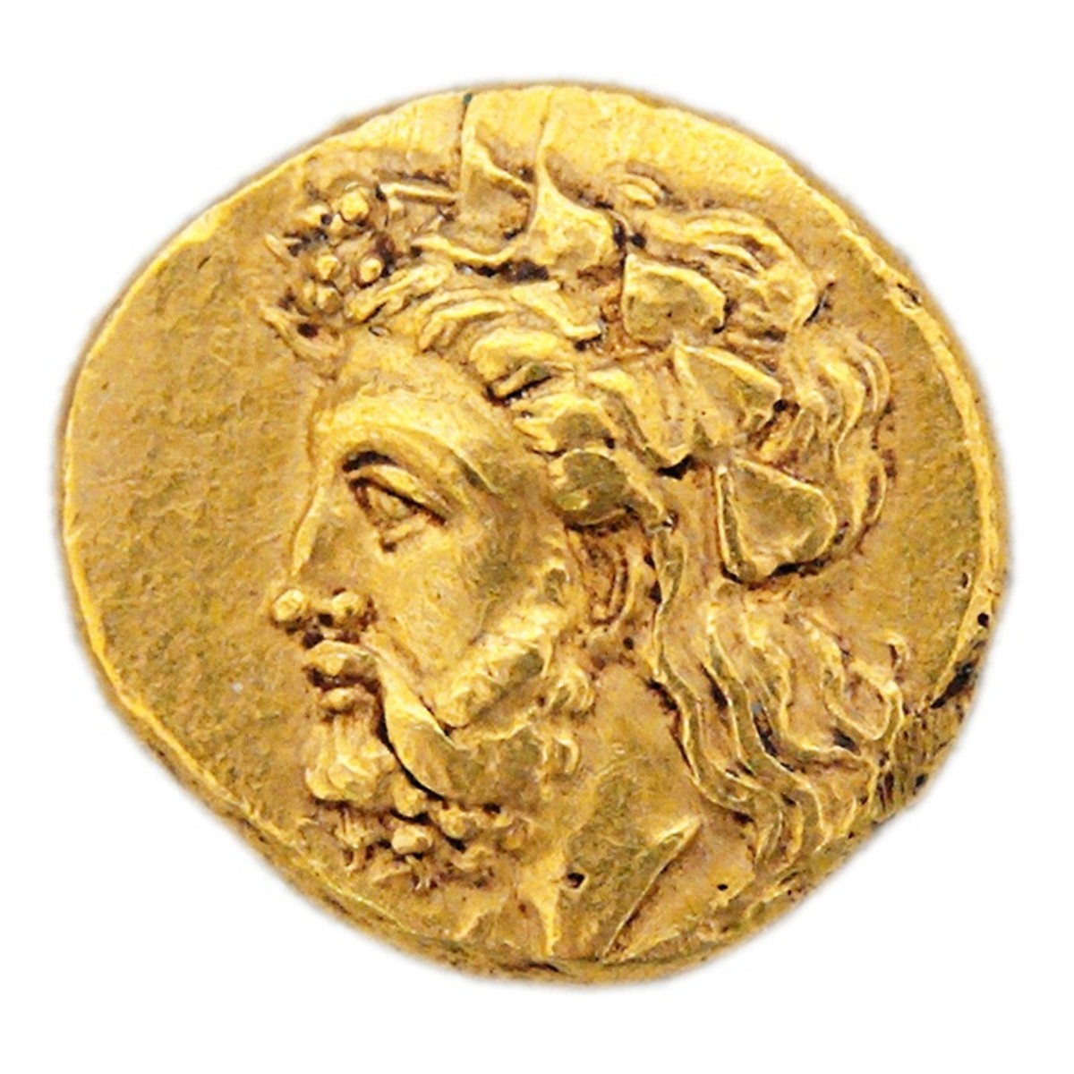This gold stater from circa 360-340 BC depicts either Dionysus or Priapus (also known as Priapos). He's wearing a crown or wreath of ivy leaves from the reproductive stage of the plant.