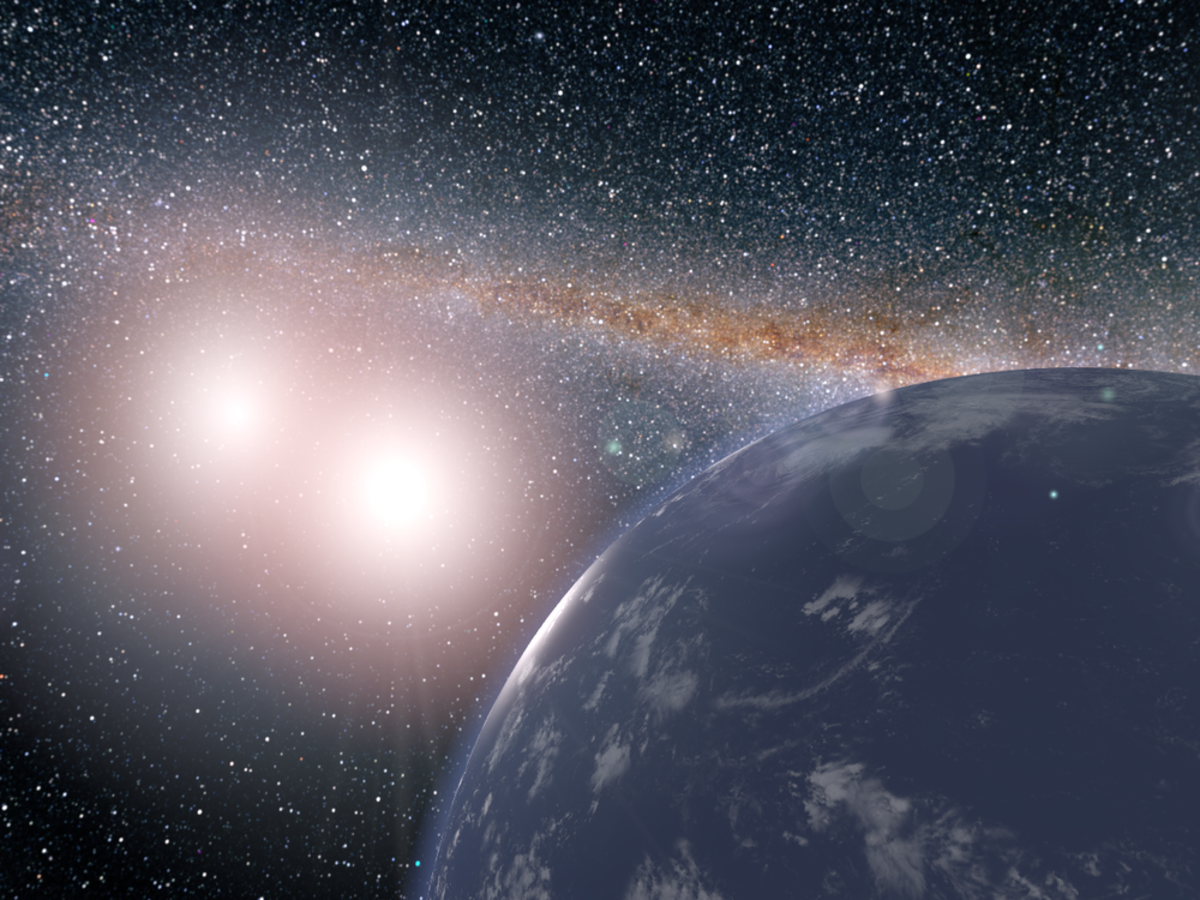 This artist's concept shows a hypothetical planet in a system with two stars.