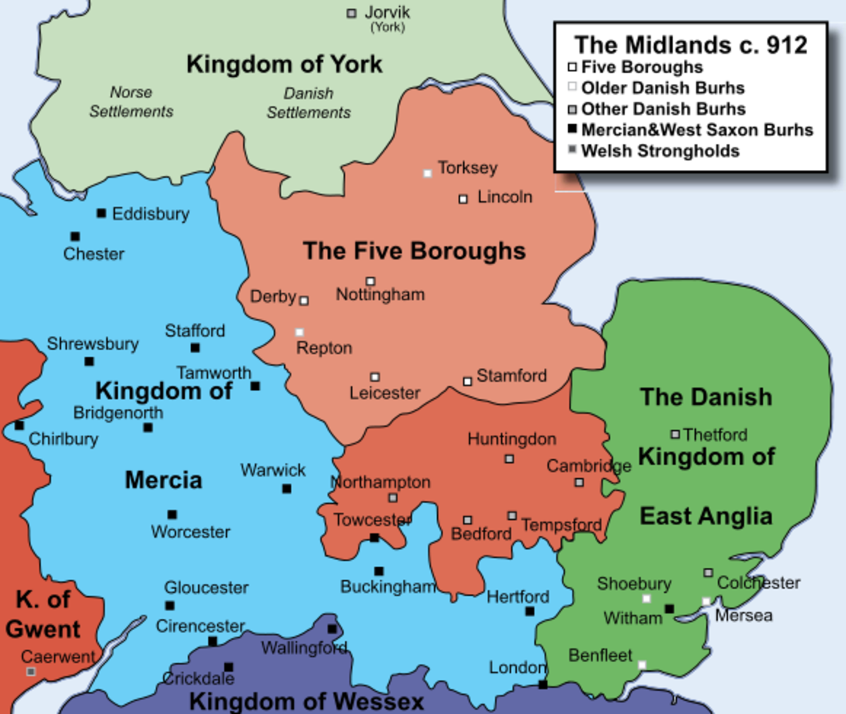 Map of the Midlands circa 912AD.
