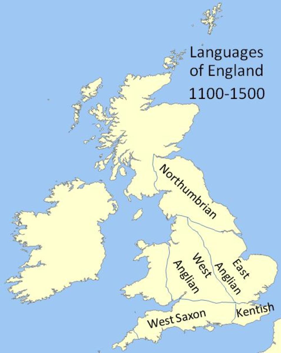 Rough map showing main languages spoken in England during the 11th-15th Centuries.