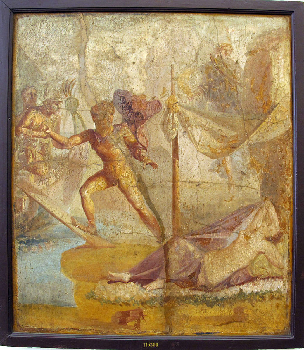Pompeian fresco of Theseus stealing aboard ship, leaving Ariadne sleeping.
