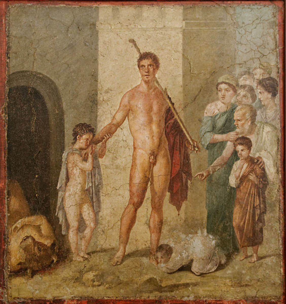 Pompeian fresco of Theseus standing over the body of the Minotaur.