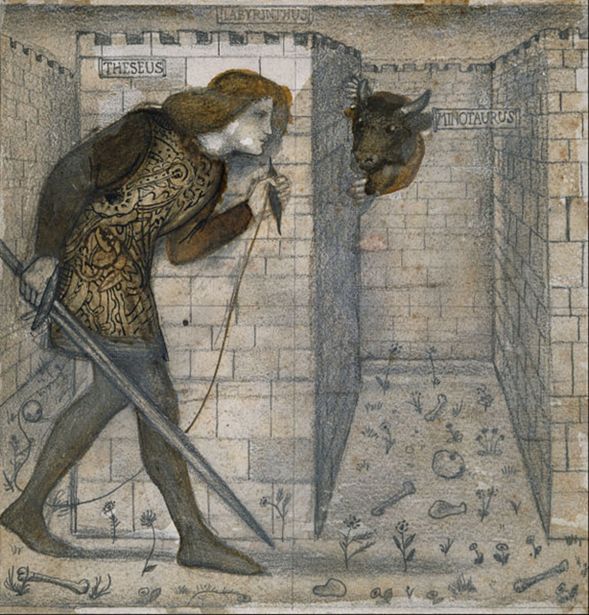 Theseus and the Minotaur in the Labyrinth, Edward Burne-Jones, 1861