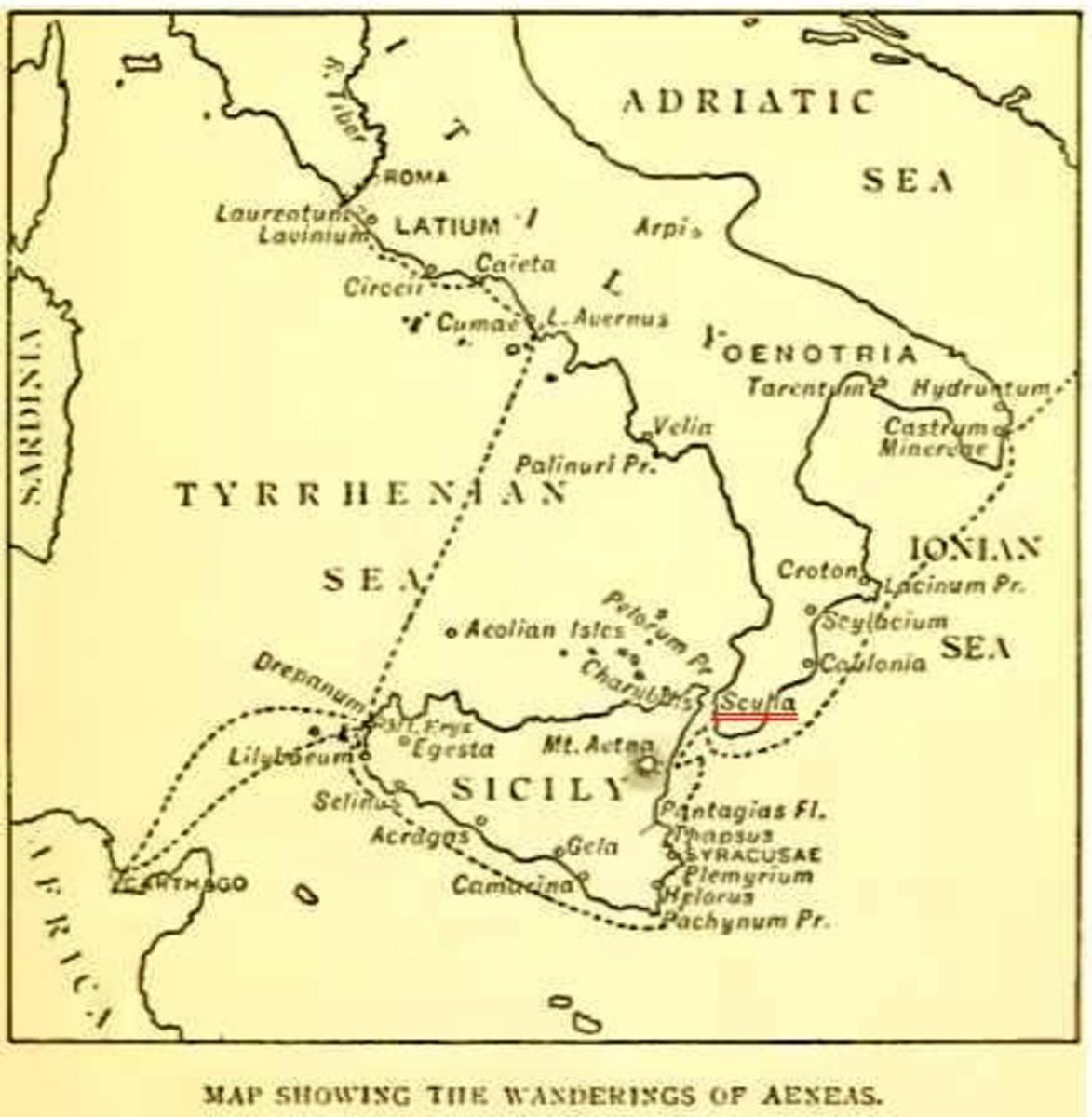 A map of the wanderings of Aeneas 1900 PD-art-100