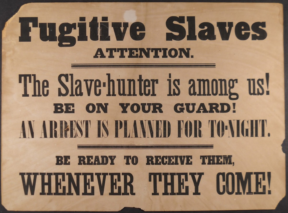 A sign warning fugitive slaves