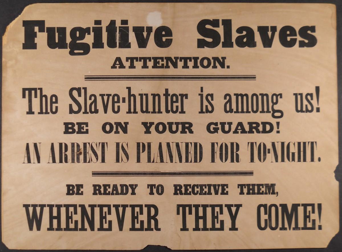 A sign warning fugitive slaves