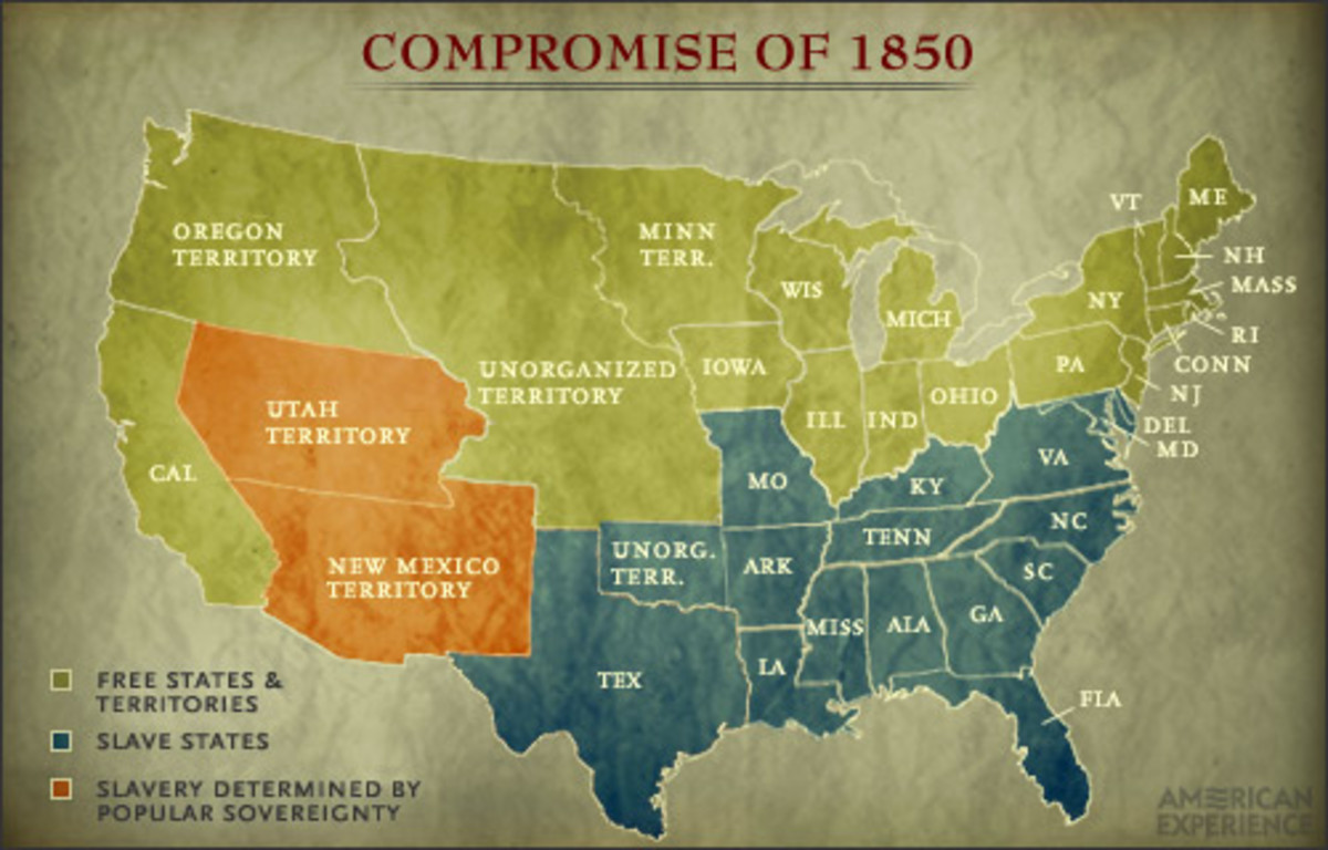 A map of how the states were divided up from the compromise