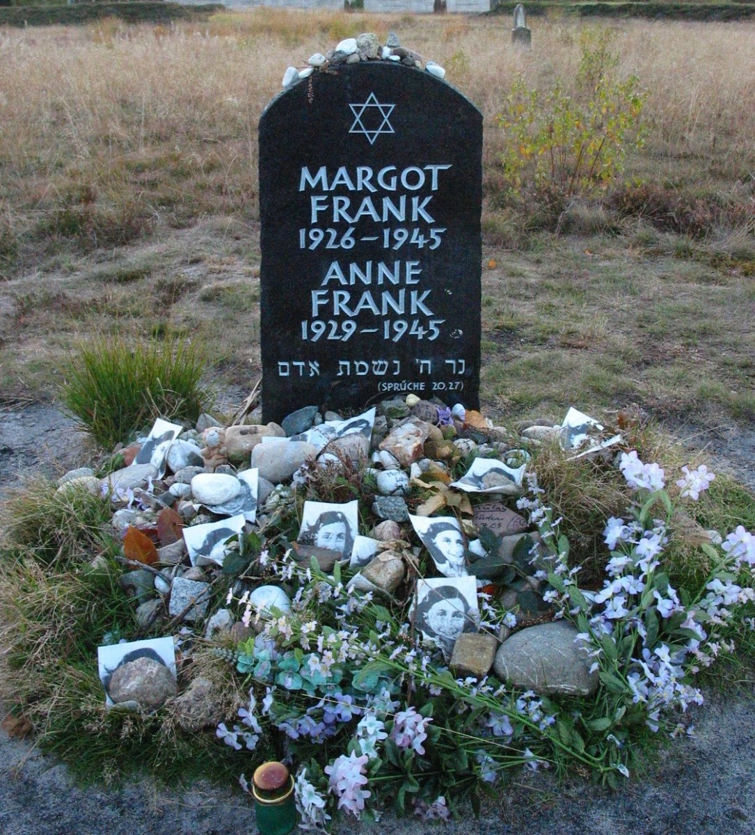 Gravestone of Anne and her sister who both died at Bergen-Belsen Nazi Concentration camp