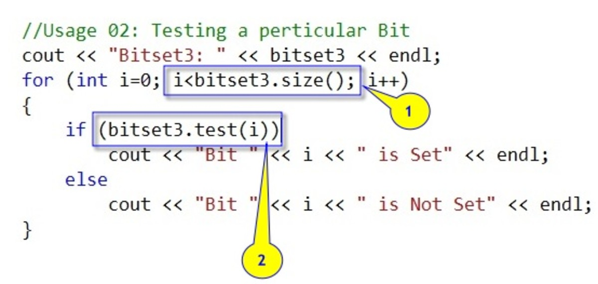 Getting status of Particular bit in the bitset instance