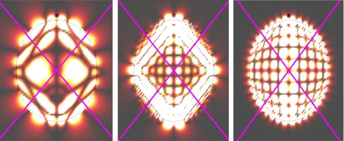 Simulated photon orbits inside hexagonal boron nitride.