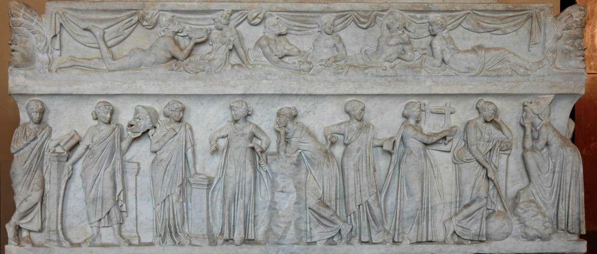 "A marble sarcophagus called the ""Muses Sarcophagus,"" represents the nine Muses and their attributes."