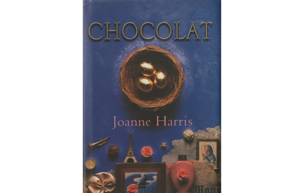 A scan of the cover of the novel, Chocolat, by Joanne Harris