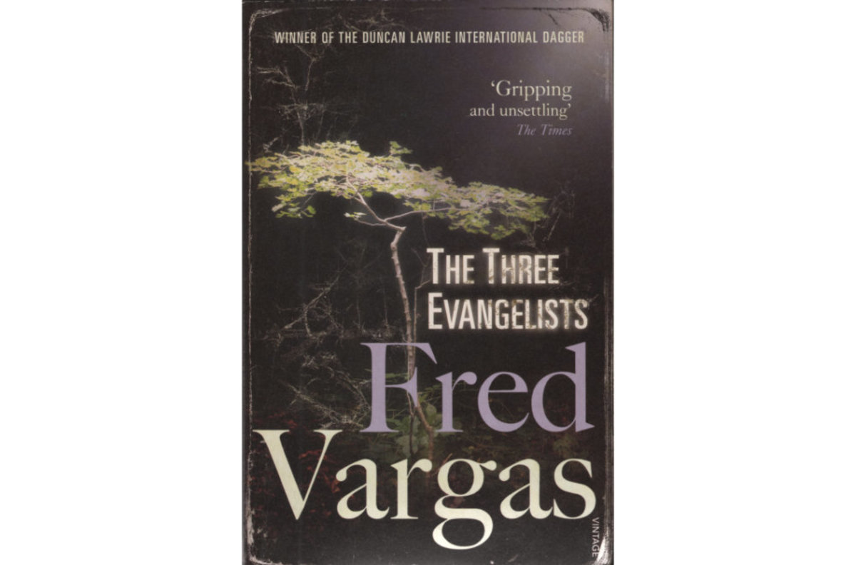 "Scan of Fred Vargas' ""The Three Evangelists"" book cover"