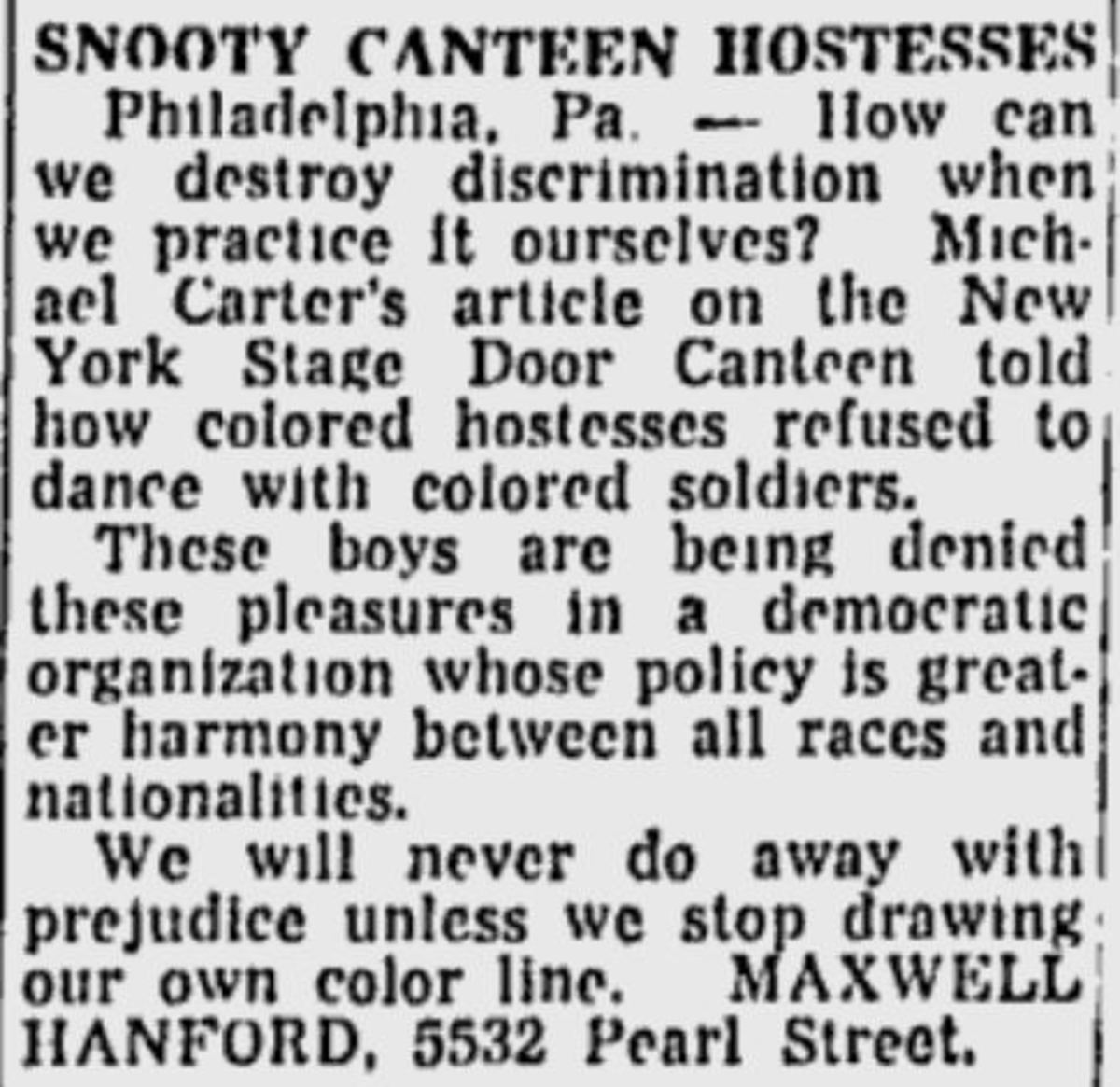 """Snooty Canteen Hostesses"""