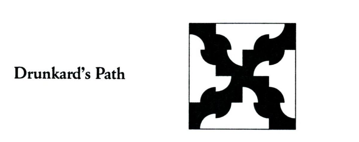 Drunkard's path quilt code