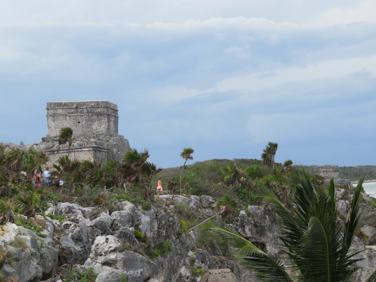 The structure visible in back left corner of this photo is the remnants of one of the two watch towers that were on the landlocked corners of the outer wall of the complex.