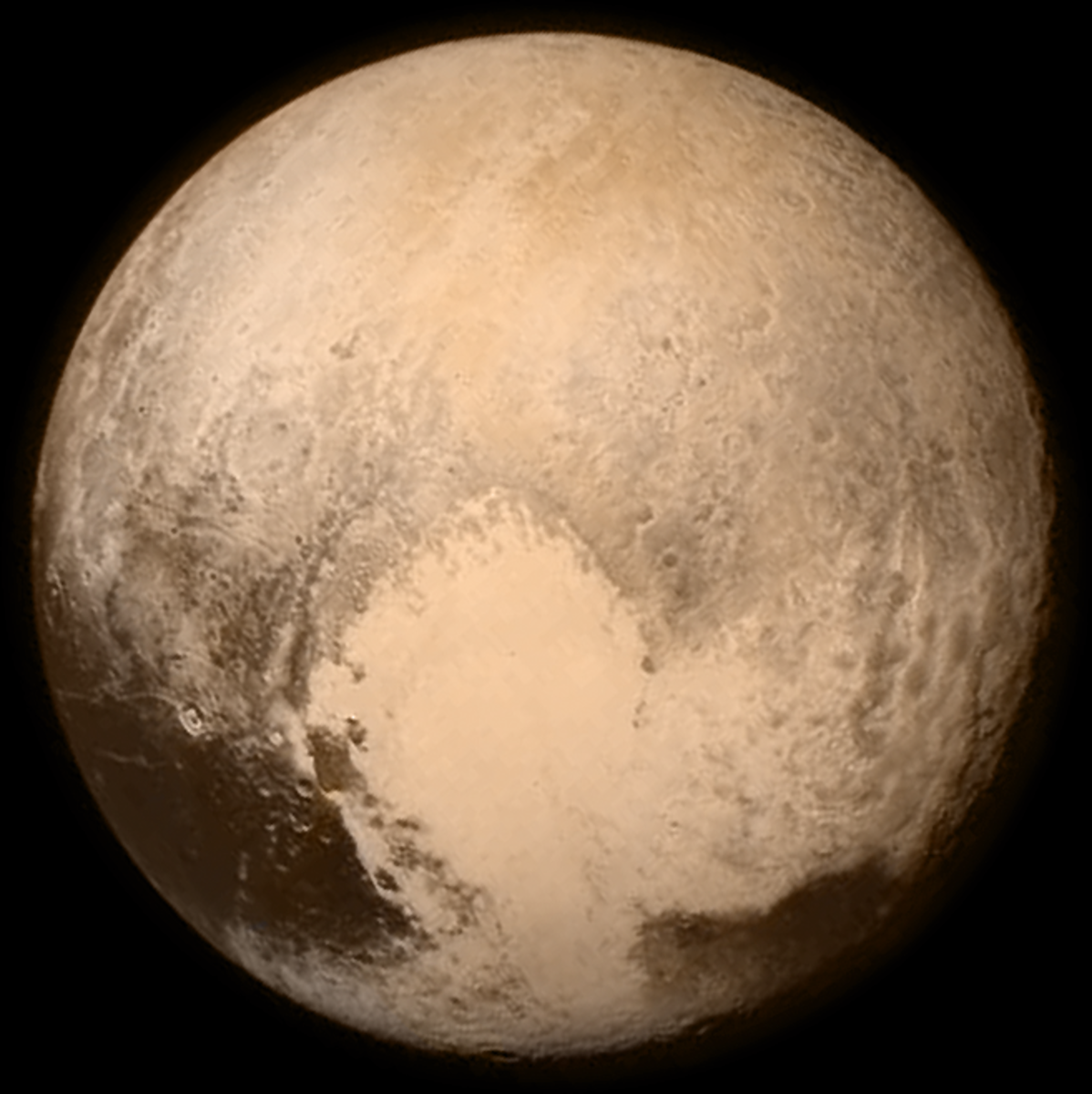 "The iconic ""Heart"" photo of Pluto, taken July 13, 2015, the day before the New Horizons flyby."
