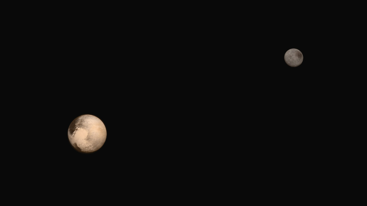 Here it is! New Horizons traveled a long way to bring us this image. (It's actually a composite photo, but the relative sizes and positioning of Pluto and Charon are accurate.)