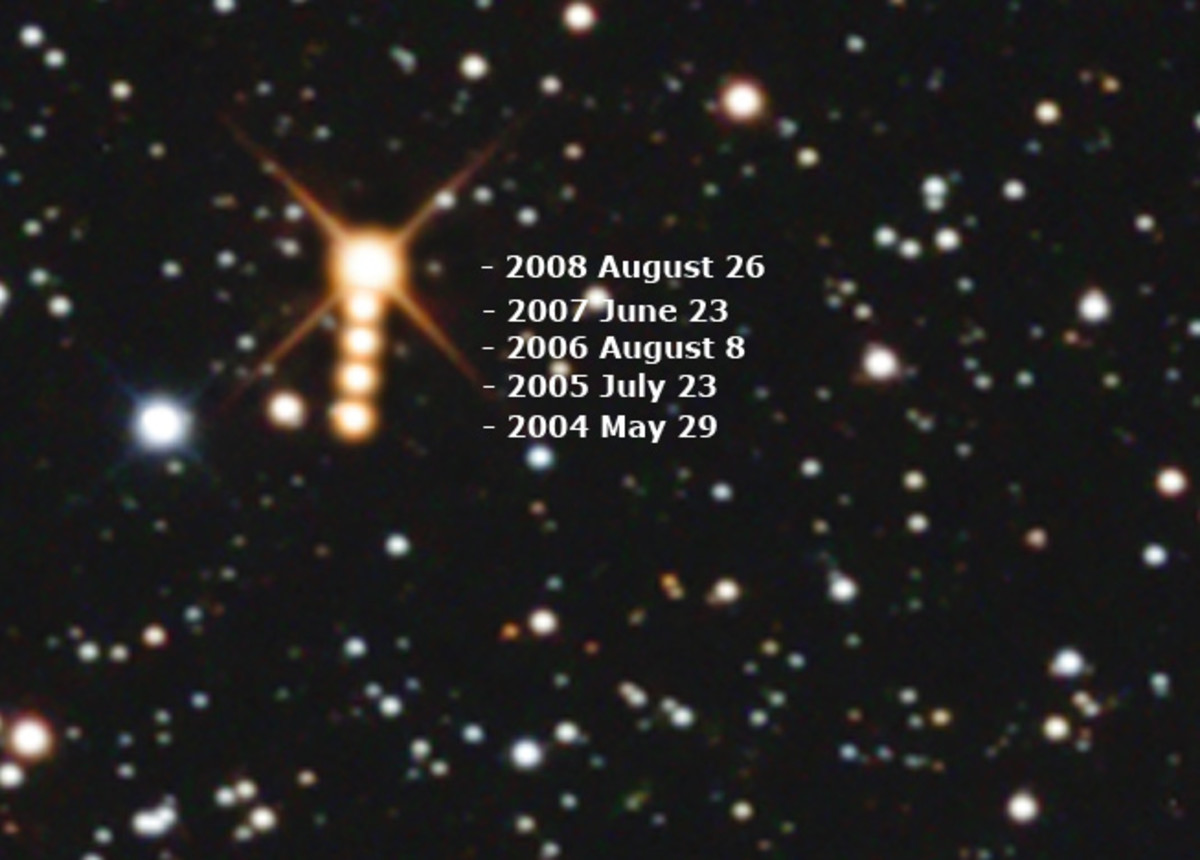 Barnard's Star and its motion through the years.