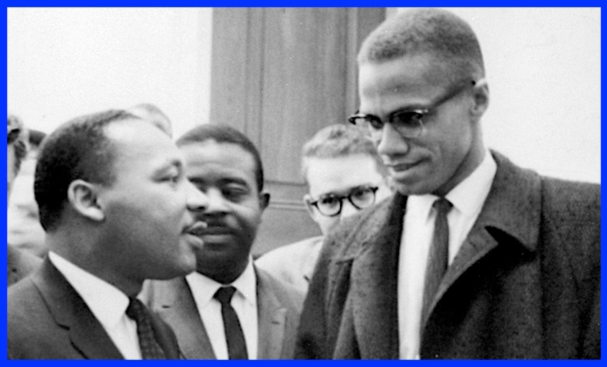 Martin Luther King Jr. and Malcolm X shown here in their only meeting at a 1964 press conference. Both men will be assassinated before the end of the decade.