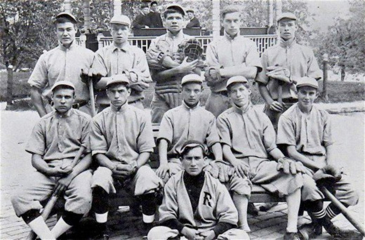 "That's George ""Babe"" Ruth, Jr. in the center of the back row.  He became a star pitcher at St. Mary's and will one day earn the nickname, the ""Sultan of Swat."""