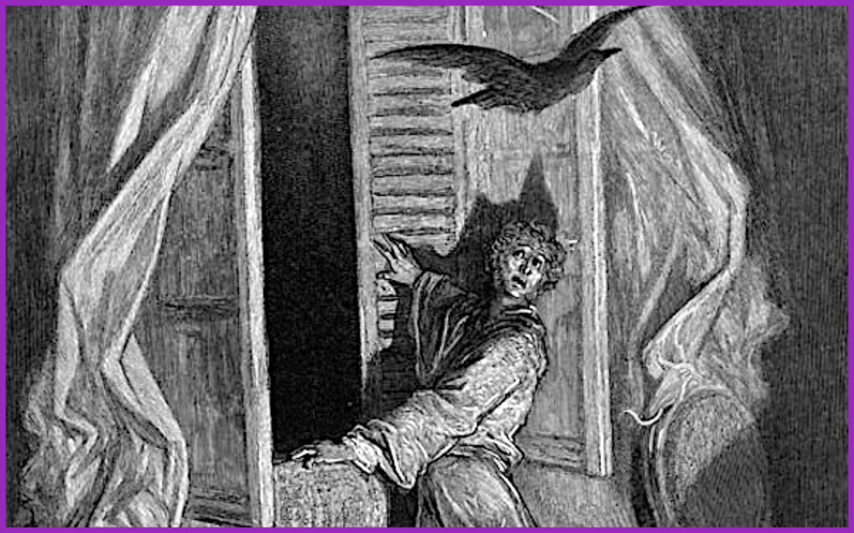 "Perhaps Edgar Allan Poe's most famous poem is ""The Raven,"" where a grieving man is visited by a talking raven as he is descending into madness."