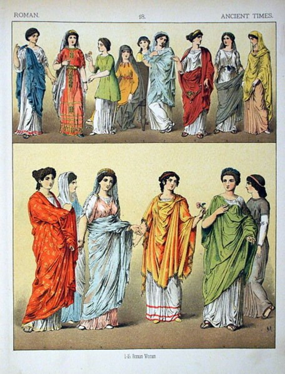 The illustration of ancient roman female clothes by  Albert Kretschmer