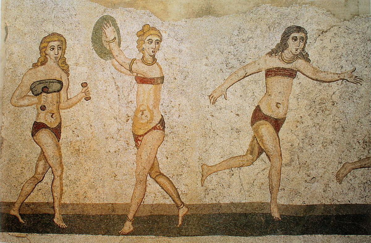 Women wearing fascia during sports, mosaic from  a Roman villa
