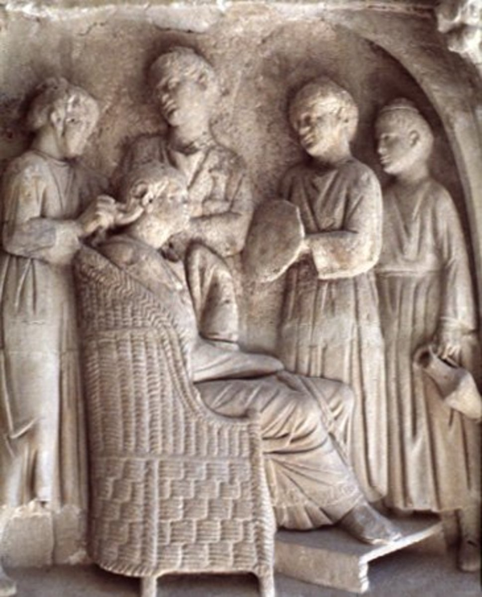 Relief of a Roman woman getting her make up done