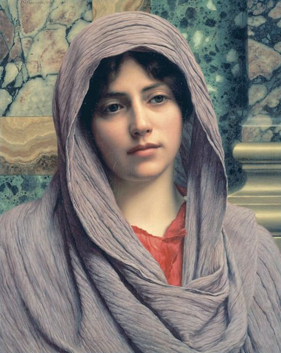 A woman wearing a palla on one of J. W. Godward's paintings
