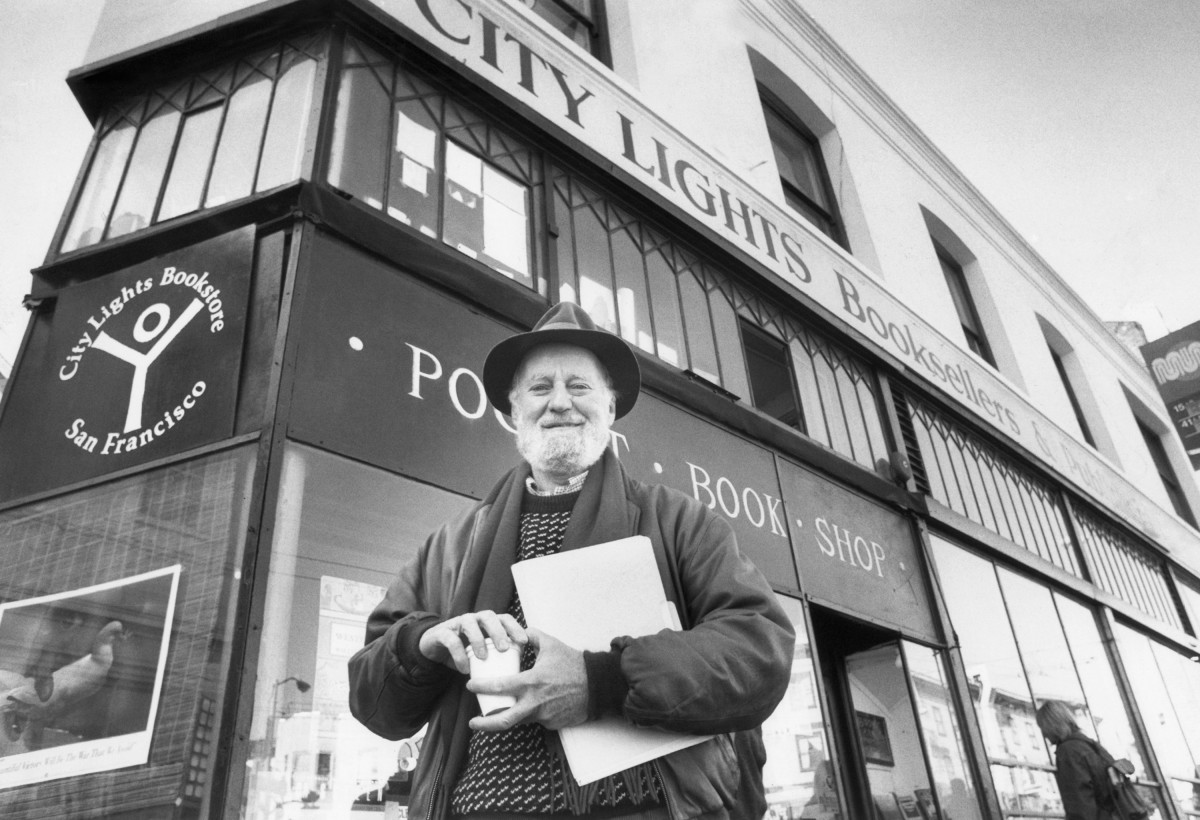 Lawrence Ferlinghetti—Monday, January 15, 1988, in front of City Lights bookstore in San Francisco