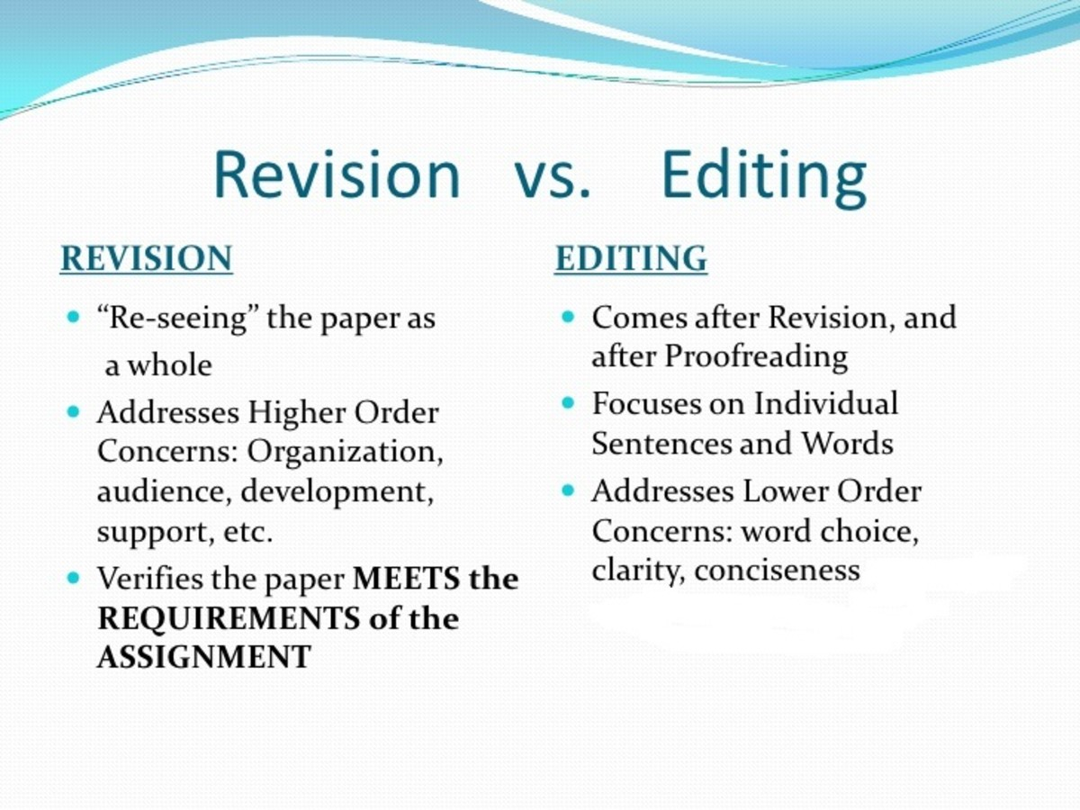 Revision and Editing differences