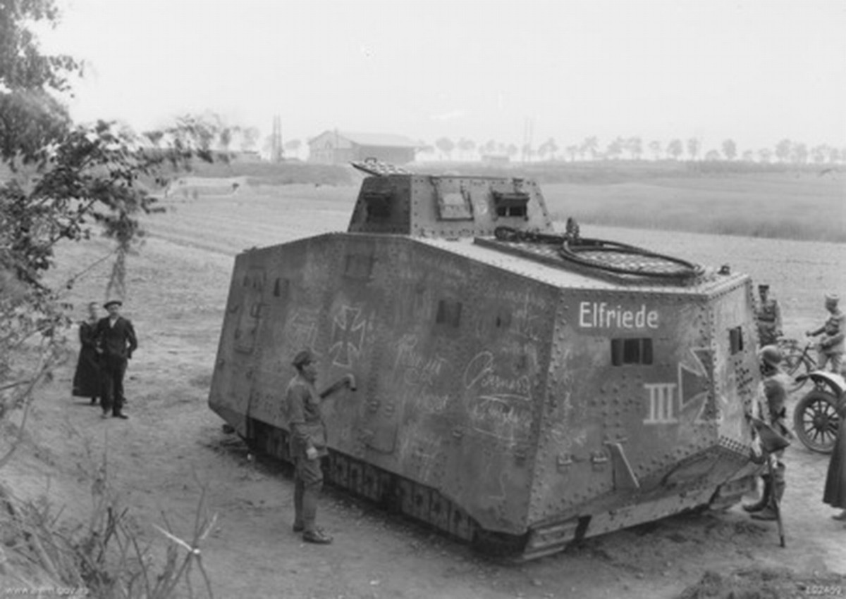 "WW1: Australians captured the German A7V tank named ""Elfriede III"" (all 20 German tanks in the war had official names) on April 24, 1918."