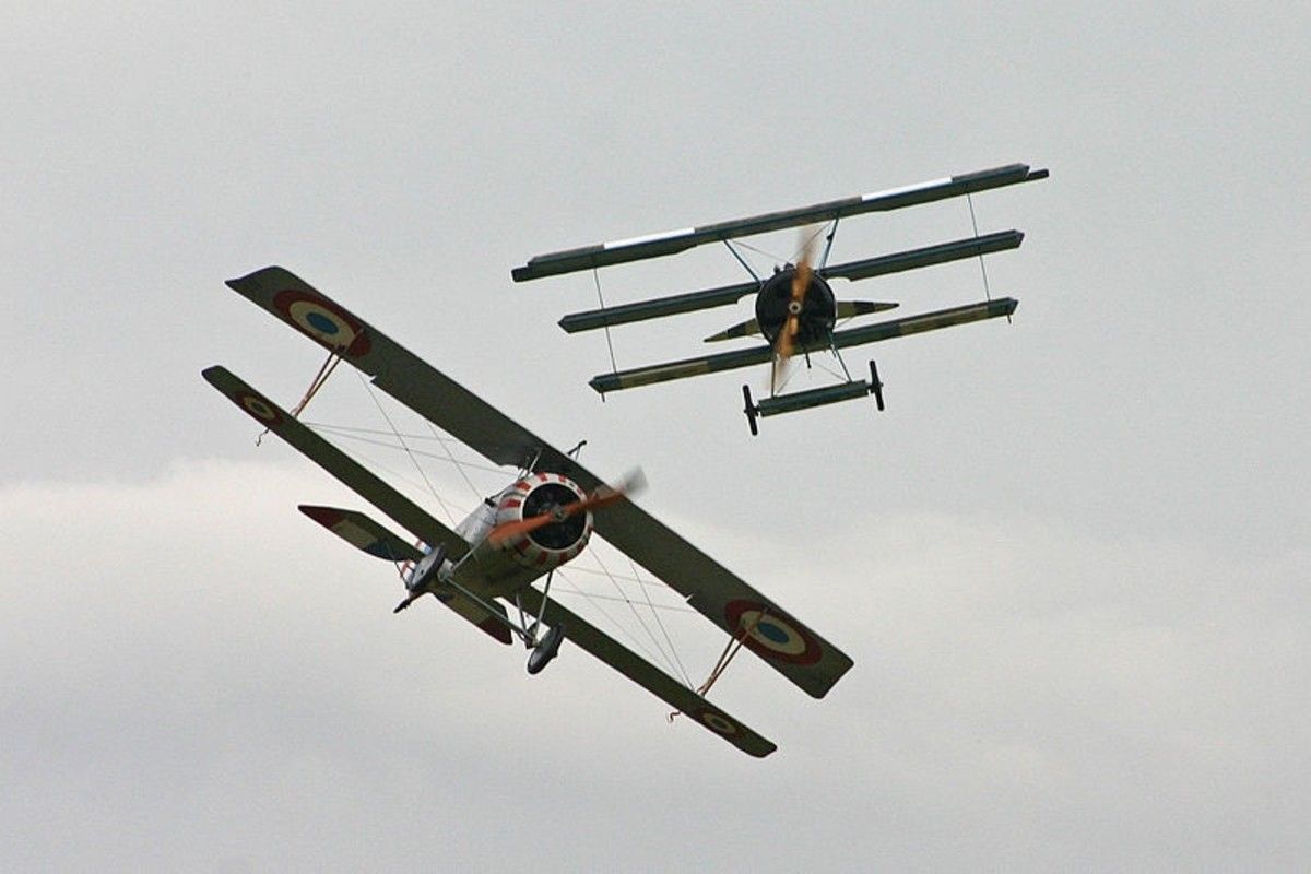WW1 Dogfight reenactment between a British Nieuport Scout and a German Fokker DR. I (replicas).