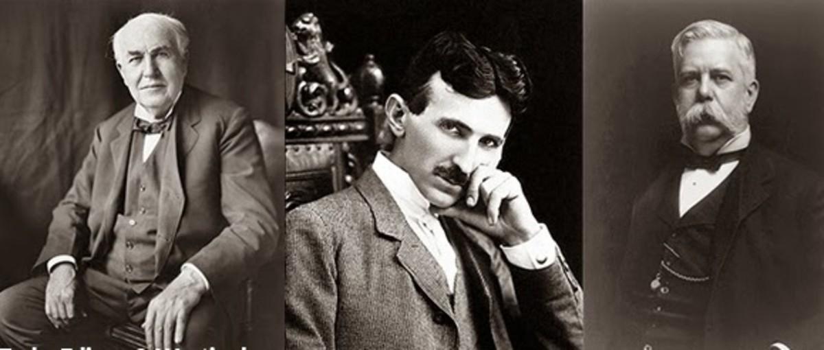 Thomas Edison, Nikola Tesla, and George Westinghouse.