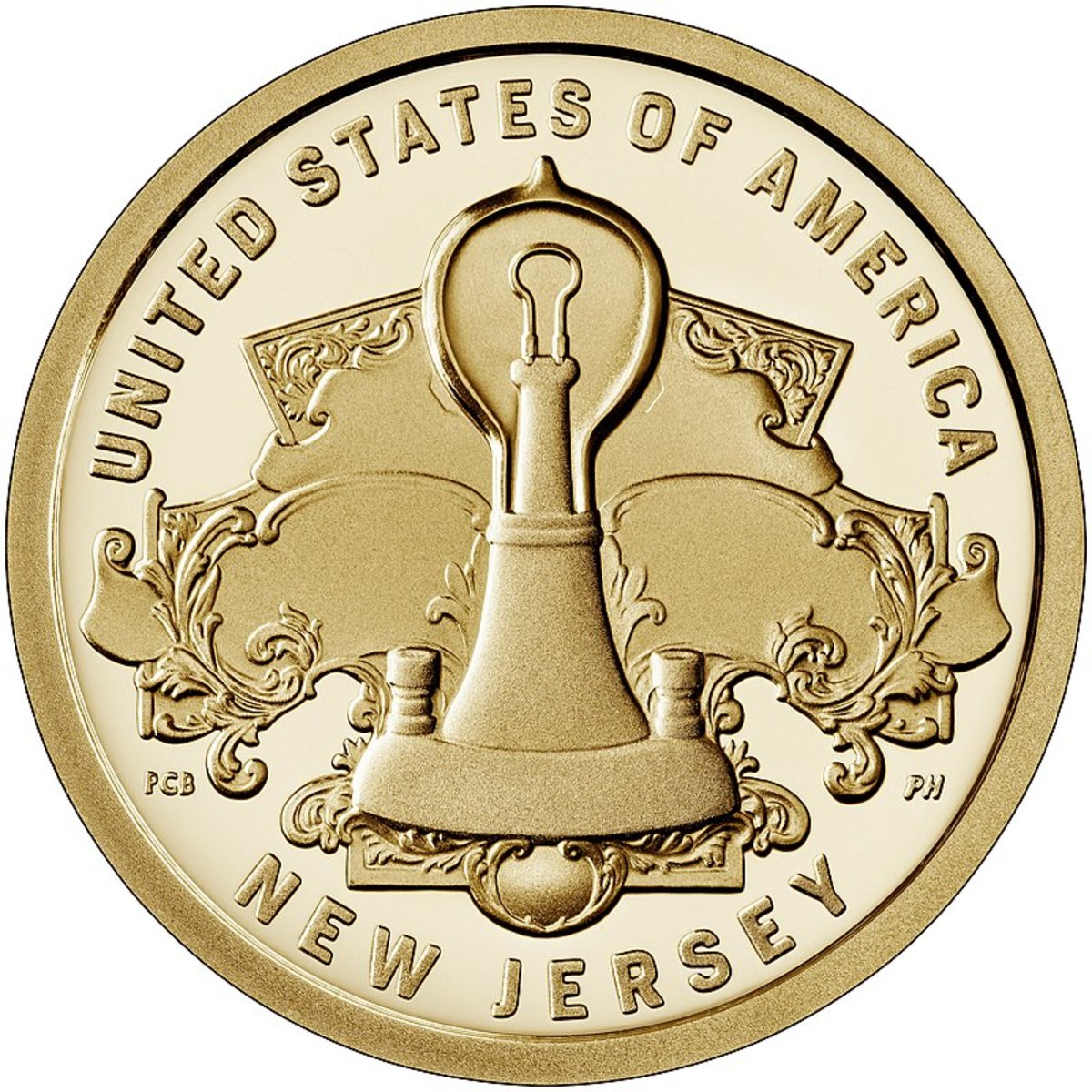 2019 New Jersey Innovation dollar coin honoring the invention of the light bulb.