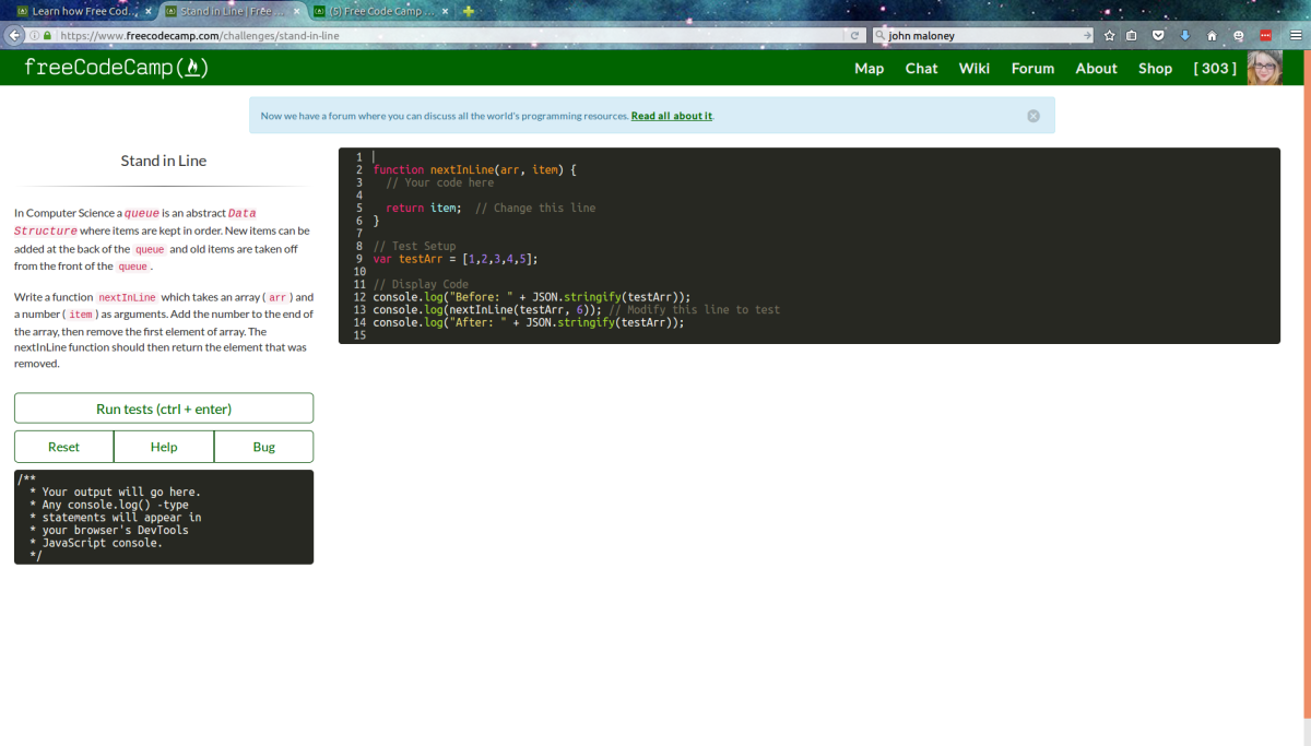 A screenshot of one of Free Code Camp's many lessons.